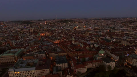 Aerial view of old center of Prague, Czech Republic Footage