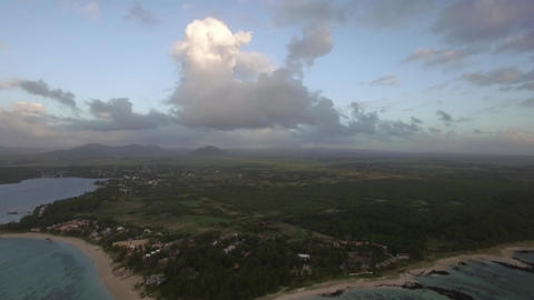 Aerial view of Mauritius with its coastal line Footage