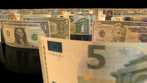 A fly-through animation over a large set of Euro, British Pound and US Dollars b Animation
