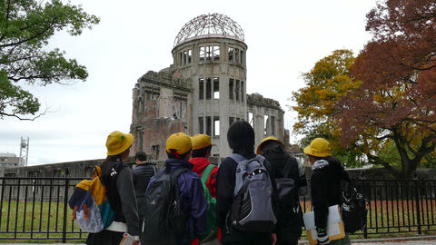 School Children Visiting The Atomic Bomb Dome Hiroshima Japan Asia Footage