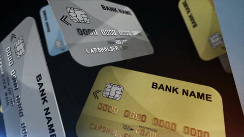 Credit cards hang in the air Animation
