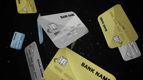 Credit cards falling down in slow motion Animation