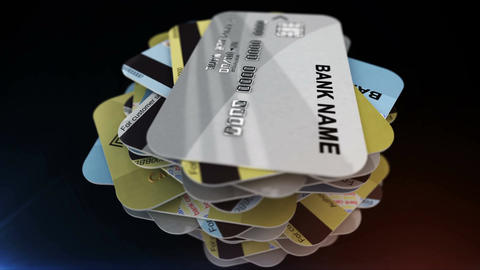 A pile of credit cards rotates Animation