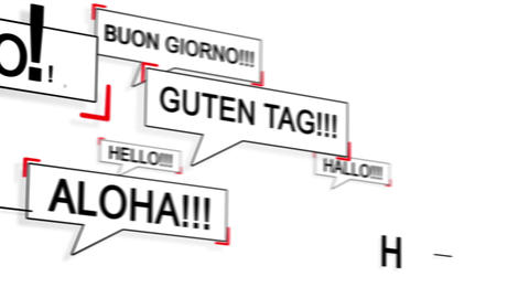 Speech bubble with HELLO in differents language Animation