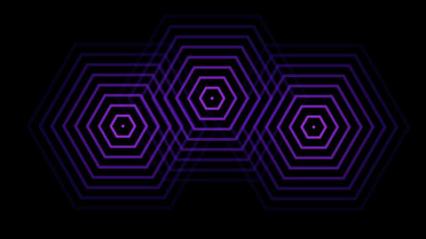 3 hexagon like radio waves radiating out from the center Animation