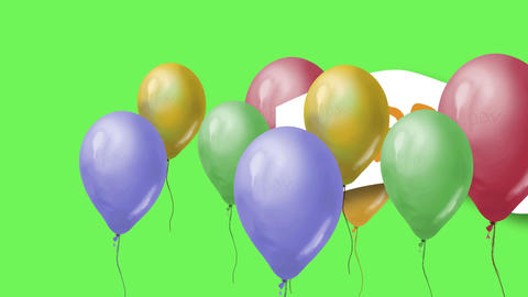 Flying balloons and word happy birthday on green screen Animation