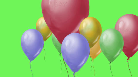 Flying balloons on green screen Animation