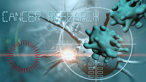 cancer cell and word CANCER RESEARCH writing on cancer image background Animation