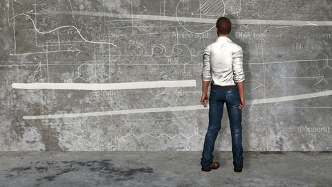 Businessman looking the company trend in the wall Animation