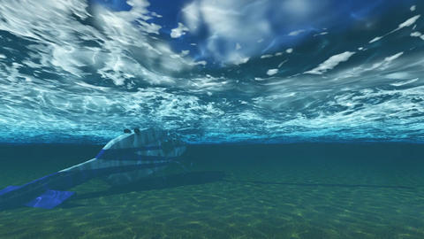 helicopter sinking underwater in the ocean Animation