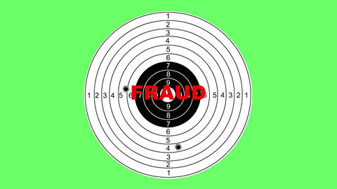 Shooting target with word fraud Animation