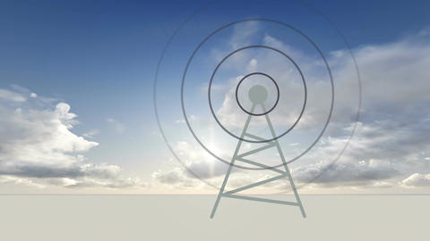 antena transmitting radio waves Animation