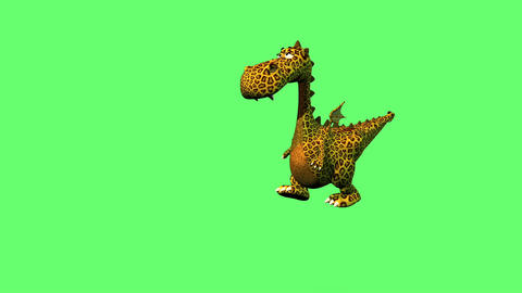 cute dragon dancing on the floor isolated on green screen Animation