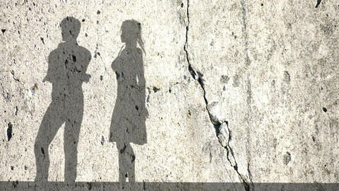 Accusation between man and women, couple fighting.Shadows of a woman and man on  Animation