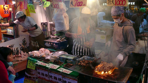 Traditional Asian Street Food In Ueno Park Tokyo Japan Asia Footage
