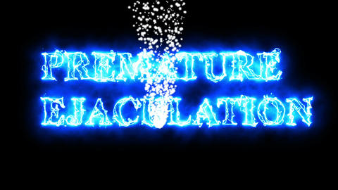 word premature ejaculation with flying white particle Animation