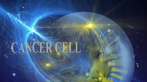 word cancer cell with connected lines Animation