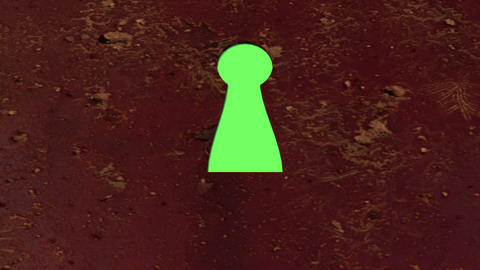 key hole with green screen from outside Animation