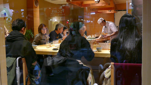 Traditional Restaurant In Kyoto Japan Asia Serving Asian Food Live Action
