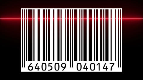 Reading a bar code with red beam Animation