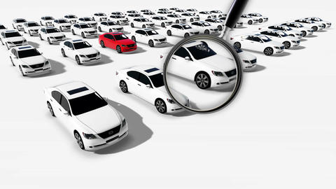 Close up of magnifying glass. Illustration of Hundreds Cars One Red Animation