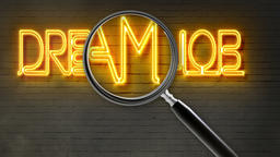 writing words ' DREAM JOB ' on bricks background and magnifying glass Animation