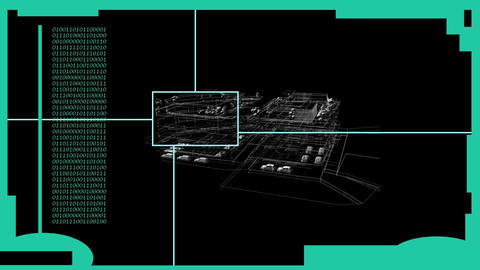 HUD Element in Hologram Style with animated wire frame…, Stock Animation