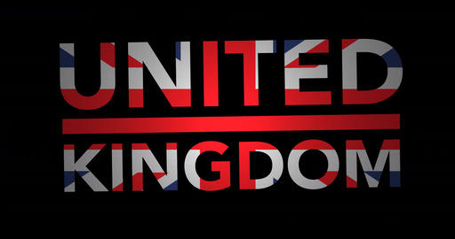 Zooming text United Kingdom with flag Animation