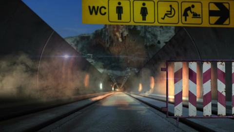 Animation - Exploding Driving car on road through the tunnel Stock Video Footage