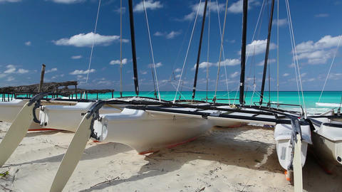 Catamarans on the beach, Cuba Footage
