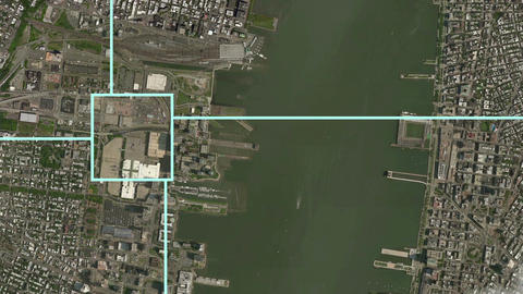 Satellite Surveillance Zoom Effect into New York Animation
