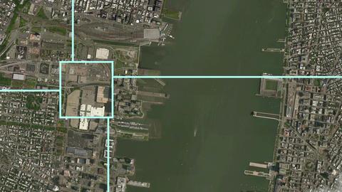 Satellite Surveillance Zoom Effect into New York Animation