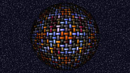Abstract decorative multicolor video with rotating striped sphere Animation