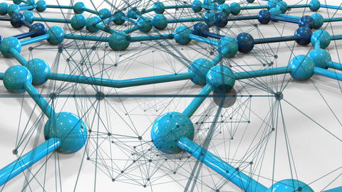 blue connecting dots points and lines on connected... Stock Video Footage