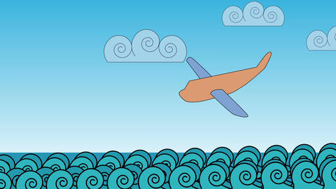 Airplane crash in the ocean waves Animation