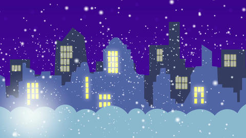 The city in the winter during the night Animation