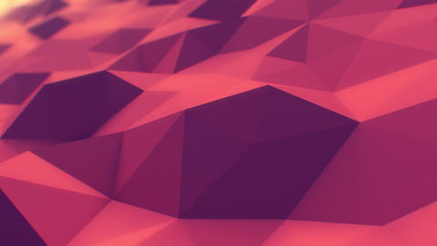Red Polygonal Surface Slow Waving in Looped 3d Animation. Seamless Background Co Animation