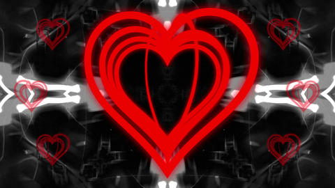 Big-Small Red Heart with BW Kaleido BG Animation