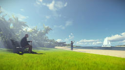 Grandfather resting and little boy with airplane running, tropical island, morni Animation