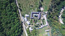 Polovragi Monastery, Romania, aerial upper view Footage
