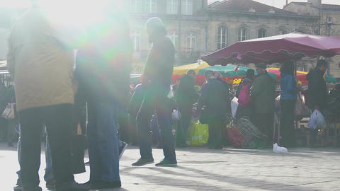 People shopping at local market, choosing fresh, healthy eco products, diet food Footage