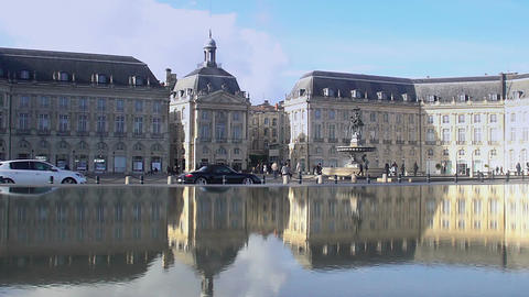 Magnificent view on Place Royale in Bordeaux, France, city traffic in the street Footage