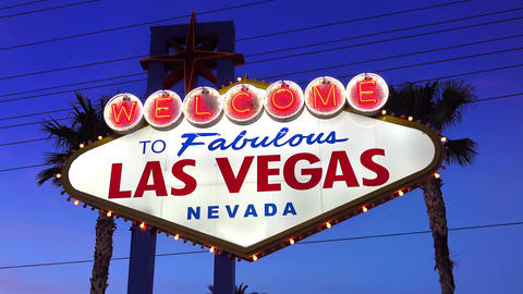 Video of welcome to fabulous Las Vegas Sign at dusk in 4K Footage