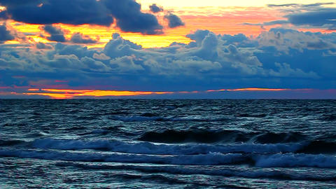 Sunset over Lake Superior Waves Footage