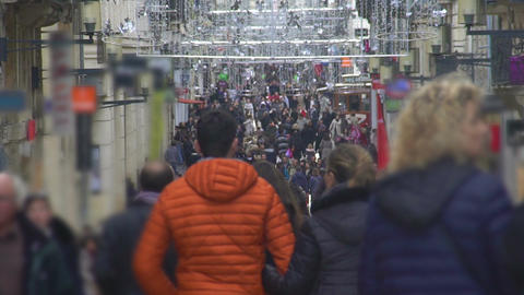 People walking in city center, going shopping before holidays, busy lifestyle Footage