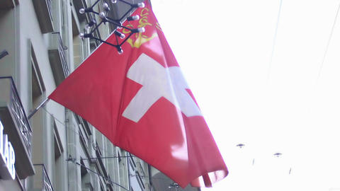 Flag of Switzerland waving in the wind, patriotic feelings for country, slow-mo Footage