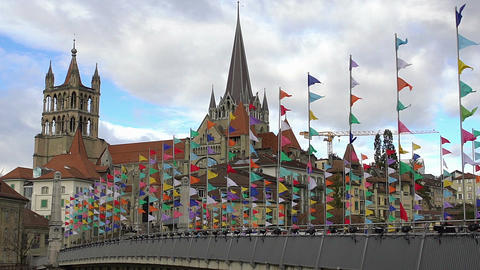 Beautiful Gothic cathedral in Lausanne old town, sightseeing tour to Switzerland Footage