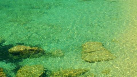 Sandy beach in Montenegro, clear sea water Footage