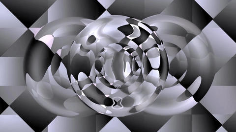 Video background with chrome reflections on techno patterned area. Circle elemen Animation