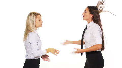 Two business women arguing and getting into a fight Footage